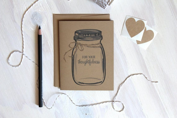 5 Rustic Kraft Mason Jar Thank You Cards, For Your Thoughtfulness, Ball Jar Thank You, Wedding Thank You Notes, Stationery,  Stationary