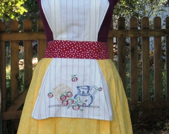 Embroidered apron, Kitsch apron shabby chic apron,  cottage chic apron,  country chic, upcycled  vintage  towel