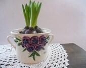 Swedish Vintage flower pot Deco by Rosa Ljung Ceramic planter with handles White purple floral pot