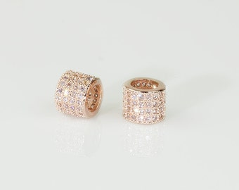 Rose Gold Pave Beads, CZ Micro Pave Bead, Cubic Zirconia Pave on Large Hole Copper Bead, 5.5x4mm, Pkg of 1 PCS, B0KX.RG04.P01