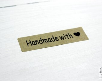 Kraft stickers handmade with love, 4.5 cm x 1.3 cm, 36 pieces, rectangular shape, kraft paper, scrapbooking, packaging, party gift wrap