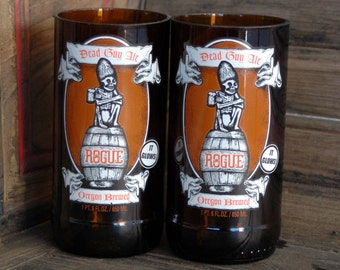 Rogue Dead Guy Ale Recycled Beer Bottle Glasses- Set of 2