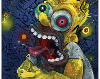 "Homer Simpson Art | The Simpsons | Giclee Canvas Reproduction of ""Homer"" by Black Ink Art"