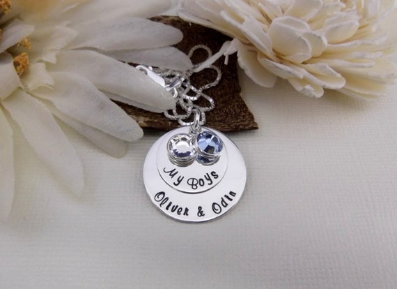 My Boys Necklace- Personalized Mommy Necklace- Hand Stamped Mommy Jewelry- Grandma Necklace- Grandmother Jewelry-  Mother and Son's Jewelry