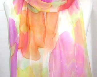 Hand Painted Silk Large Scarf. Pink,Yellow Spring Floral Scarf. Silk Chiffon Scarf. Multicolor Scarf. 18x71 in. In Stock.