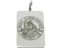 9ct White Gold St Christopher Pendant Necklace with Personalised Engraving and Chain Options