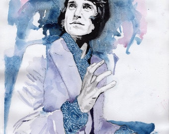 Ray Davies of The Kinks Print on High Quality paper, original watercolour by Tuulia Tamminen - Size A3