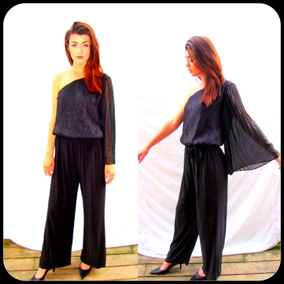 Vintage black palazzo pants, 1990s, angel wing sleeves, party, evening, cocktail, club, rocker,goth, size small