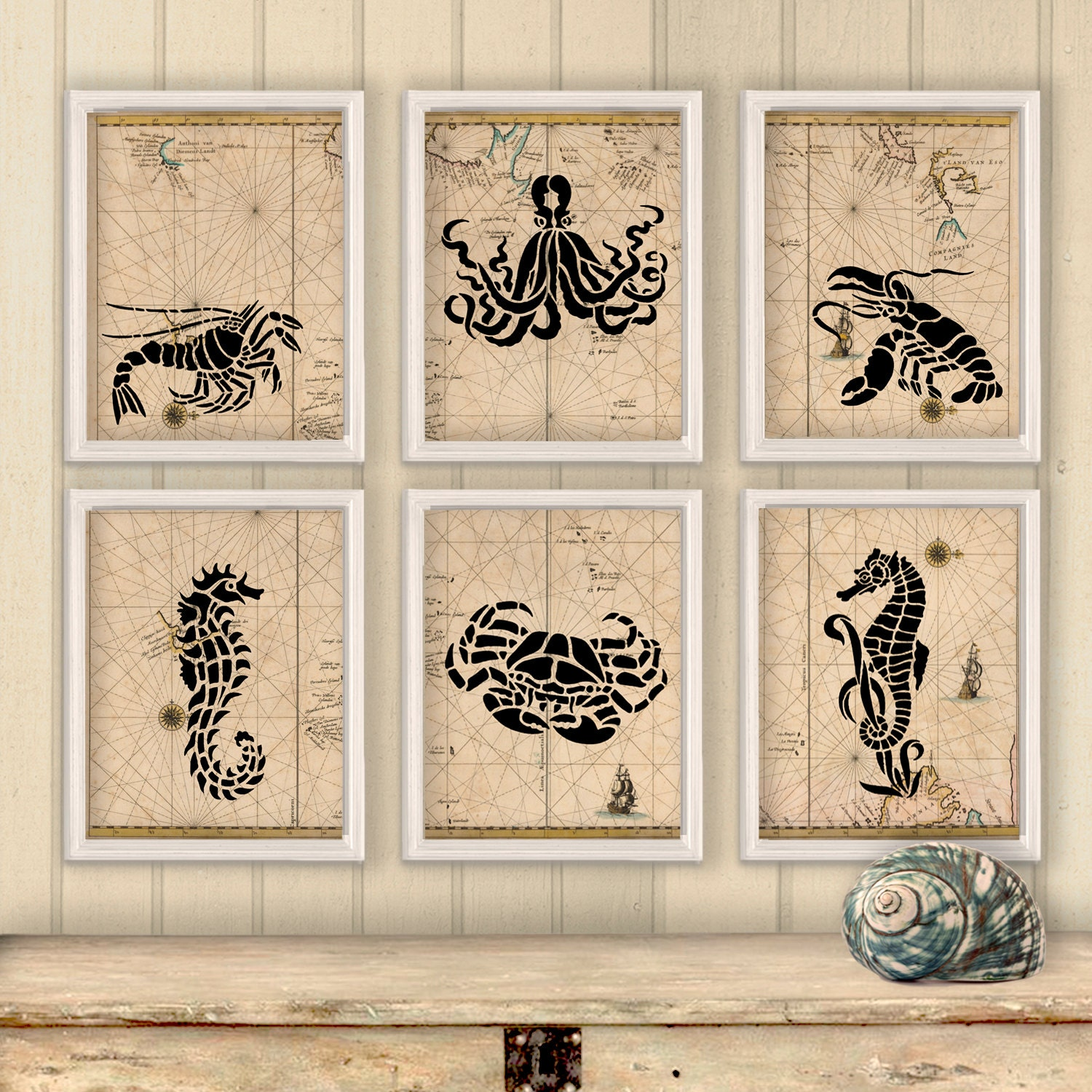 To Nautical Map Home Decor Sea Creatures Poster Print Wall Decor