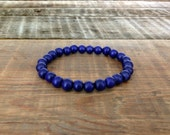 Men's Beaded Bracelet: Natural Wood Beads in Navy