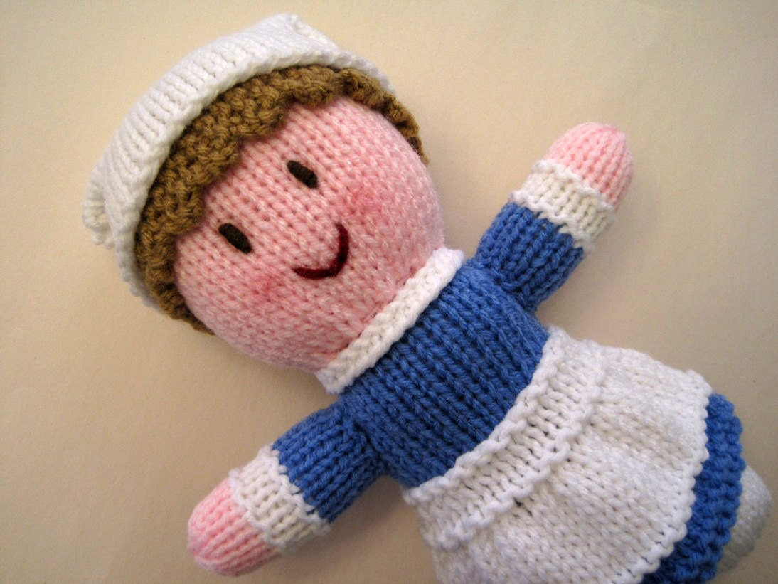 Nurse Doll Hand Knit Childrens Stuffed Doll Hand Made