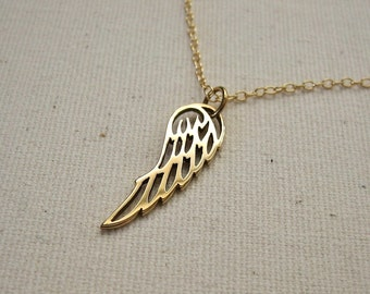 Cutout Angel Wing Necklace Bronze on Gold Filled Chain -  Memorial Jewelry - Customize, Personalized