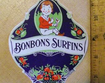 Vintage French Ephemera Bonbon Candy Label 1930s Paris