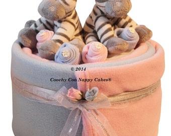 Large Single Tier Twin Baby zebra Nappy Cake Gift Hamper