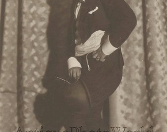 Clown in great costume antique photo