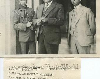 Mexico president Portes Gil antique photo
