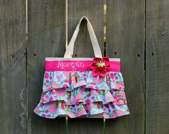 NEW Modern Strawberry Shortcake Birthday Party Bag, Ruffled Canvas Tote, Little Girl Purse, Diaper Canvas Tote, Diaper Bag Accessory