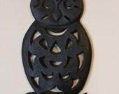 Vintage Cast Iron Owl Candle Holder Halloween Decor black owl wall hanging