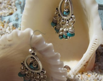 Tiny Silver Turquoise and Shell Danglers