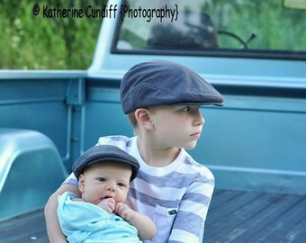 Boys Newsboy hat, boys hat photo prop, charcoal gray flat cap, boys photography prop hat - made to order