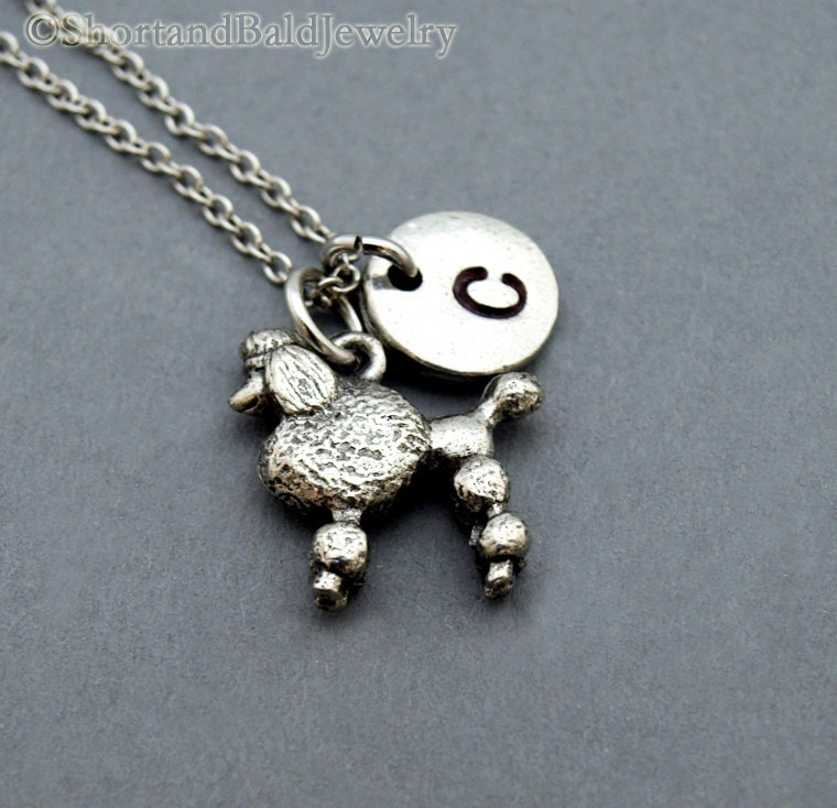 poodle necklace poodle poodle charm jewelry initial