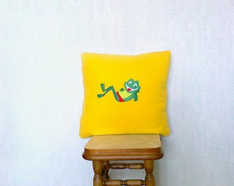 Frog, Frog pillow cover, childrens pillow cover, decorative pillow cover, bright yellow pillow cover, nursery room pillow, 17,72 inches