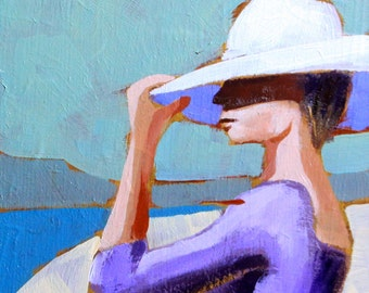 """Woman with a white hat Figure painting small original female on a beach 6x6"""" acrylic on panel - lilac green beige fine art by Cristina Jacó"""