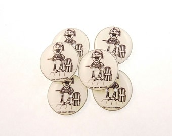 """6 Vintage Advertising Sewing Buttons.  The Jolly Smoker 3/4"""" or 20 mm Handmade Buttons."""