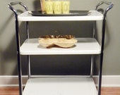 Vintage Mid Century Heavy Duty Rolling Metal Bar Kitchen Tea Cart