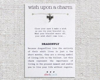 DRAGONFLY - Wish Bracelet - Silver Charm - Hemp Cord - Choose Your Own Color
