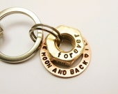 Personalized Latitude Longitude Brass Hex Nut & Copper Washer Key Chain, Handstamped Names Dates Initials Coordinates, Gift for Man Dad Boy