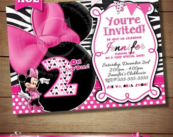 HUGE SELECTION Zebra Minnie Mouse Invitation, Pink Black Zebra Minnie Mouse Invitation, Birthday Invitation, 2nd 3rd 4th 5th Birthday Card