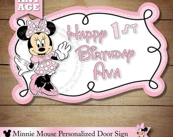 Minnie Mouse Sign, Minnie Mouse Happy Birthday Personalized Door Sign, Ligh Pink Polka Dot Minnie Mouse Party Printable, DIY, You Print