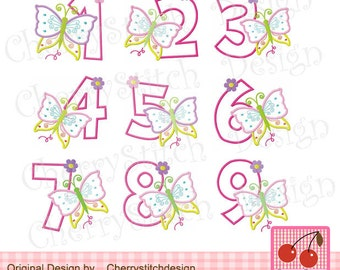 Butterfly Numbers, Birthday Numbers Embroidery  Applique  -4x4 5x5 6X6 inch-Machine Embroidery Design Applique