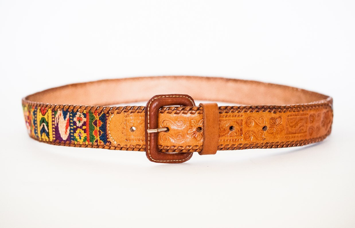 vintage 70 s tooled leather belt uk 10 14 by