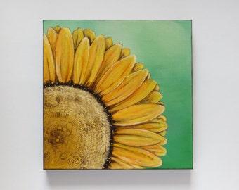 Sunshine, acrylic painting, sunflower painting, original painting, modern sunflower, flower painting, canvas painting, yellow sunflower