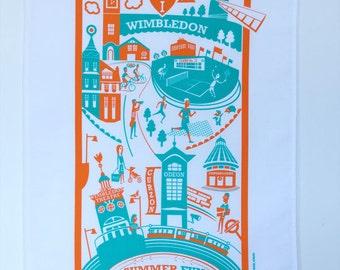 Wimbledon tea towel / London illustration