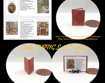 The NIGHT BEFORE CHRISTMAS Miniature Book Dollhouse 1:12 Scale Readable Illustrated Book