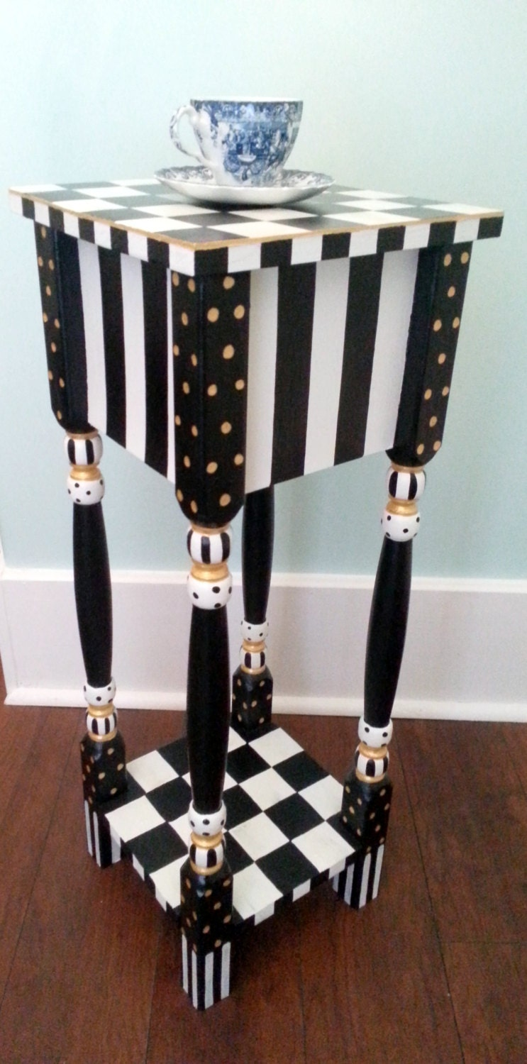 Whimsical Black And White Checkered Side Table Or Nightstand