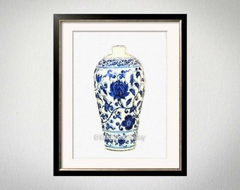 Hollywood Regency Vase Print, Chinoiserie Ginger Jar Digital Painting, Blue White Wall Art, Palm Beach Chic, Chinese Vase Art, Blue White