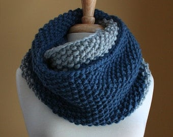Chunky Colorblock Infinity Scarf - Cobalt Blue and Stone Grey