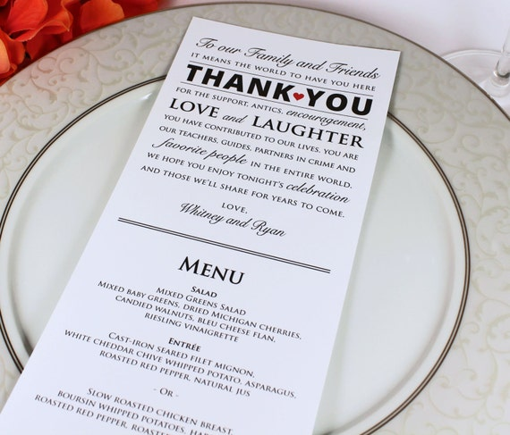 Wedding Reception Menu And Thank You Card Combo Wedding Menu