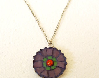 Mosaic necklace, purple green stained glass jewelry, one of a kind necklace, free shipping