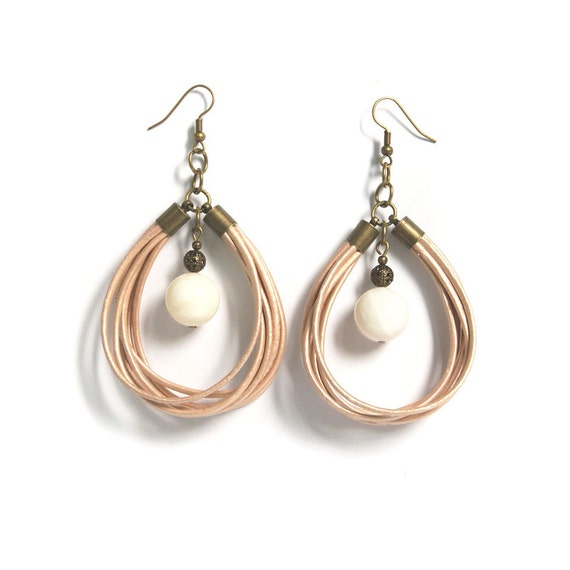 leather cord dangle earrings large chandelier earrings