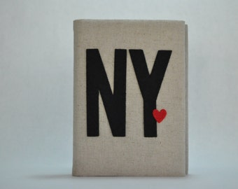 I LOVE N.Y. - 4x6 Photo Album: Natural Colored Fabric, NY Applique, New York