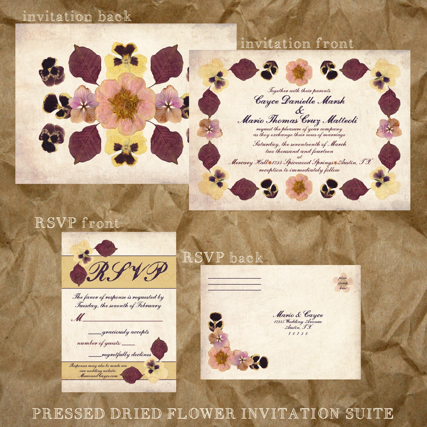 pressed flower wedding invitation suite fall colors. Black Bedroom Furniture Sets. Home Design Ideas