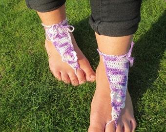 Varigated lavendar and purple chrocheted barefoot sandal