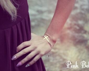 Silver cross bracelet