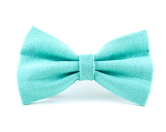 Robins Egg Blue Dog Bow Tie - Detachable Turquoise Aqua Blue Dog Collar Bow Tie