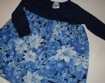 Blue Pointsettia Holiday Dress (12m)